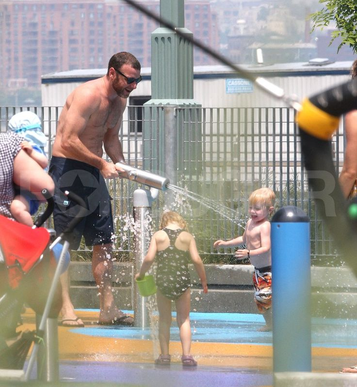 Liev Schreiber and His Son Samuel Share a Wet and Wild Day at the Water Park