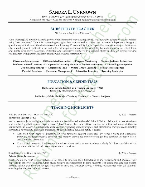 20 substitute teacher resume description
