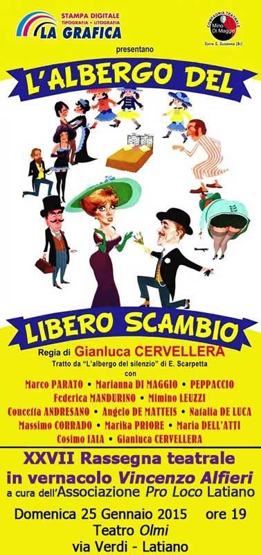 L'albergo del libero scambio, Compagnia Mino di Maggio, rassegna teatrale V. Alfieri domenica 25 gennaio 2015 al Teatro Olmi di #Latiano (Br)