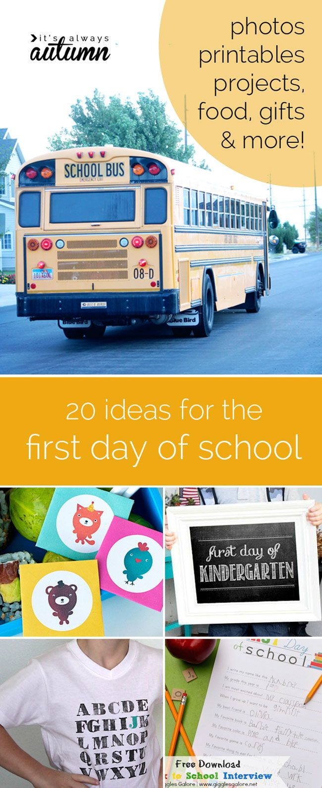 its almost time for back to school, so check out these great ideas for the first day of school - outfits, photos, food, gifts, and more!