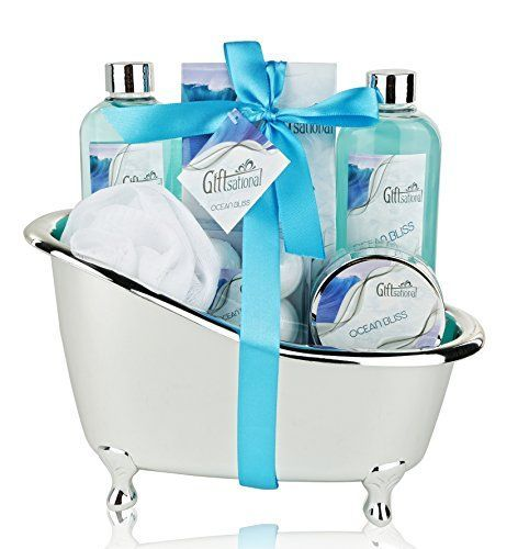 Spa Gift Basket with Refreshing Ocean Bliss Fragrance - Best Wedding, Birthday, Anniversary or Graduation Gift for anyone -Bath Gift Set Includes Shower Gel Bubble Bath, Bath Salts Bath Bombs and More! Super cute mini bathtub. Perfect for bathroom decor even laundry room. Great gift ideas under 50 dollars!