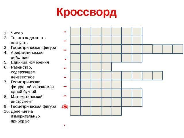 Алгебра 7 класс загадки кросворды
