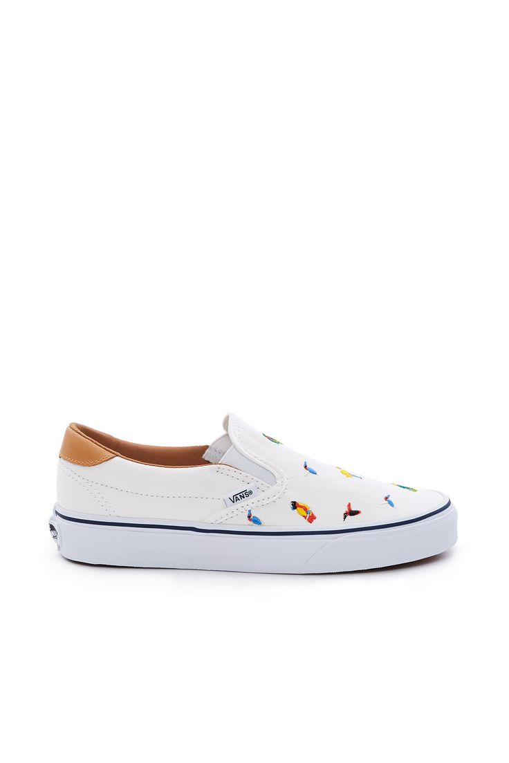 Vans, Bird Embroidery Slip-On 59 Sneaker NOTE: Enjoy free ground shipping on all full price Vans, Vans Vault, and Vans for OC products. Sale items do not apply.Vans' classic Slip-On sneaker is constructed with textile uppers that display a colorful array of tropical birds embroidered throughout., Unisex, US men's sizing - See Size & Fit tab for women's size conversion here, Low profile, Round toe, Elasticated side accents, Padded collar, Soft leather and canvas lining, Origina...