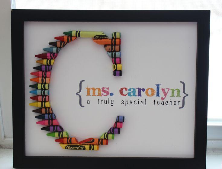 Crayon Monogram I made for my kiddo's teacher