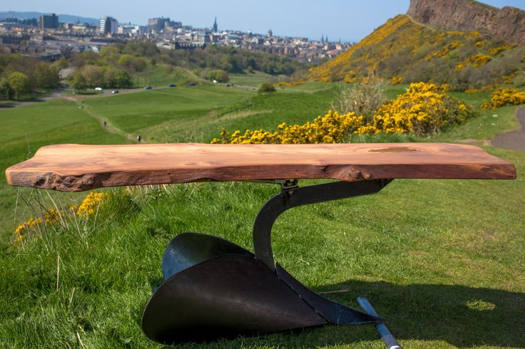 Plough elm coffee table  Pitted plough topped by 200 year old stitched elm piece.  www.celticcollective.com