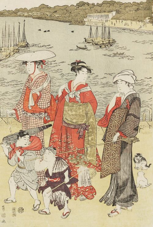 Women Walking on Beach.  Ukiyo-e woodblock print, about 1810, Japan, by artist Utagawa Toyokuni I.