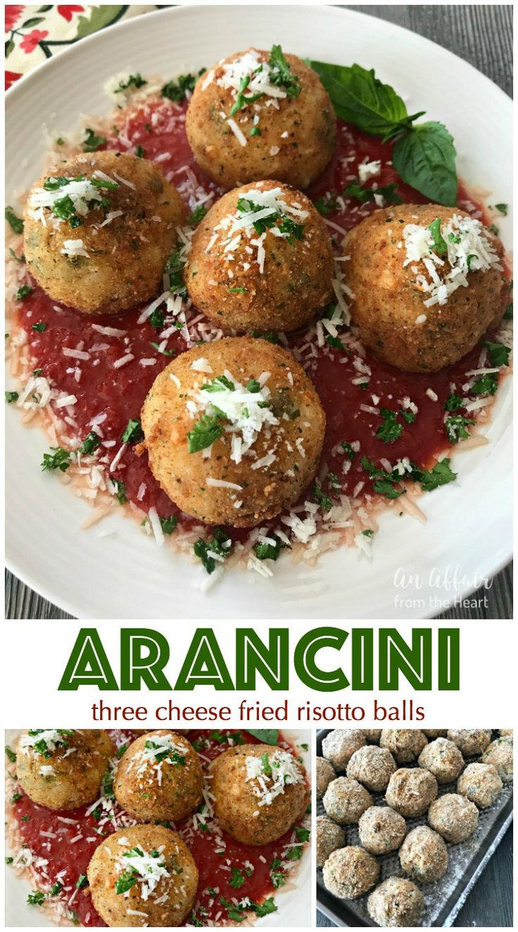 Arancini - Three Cheese Fried Risotto Balls | An Affair from the Heart --These Italian three cheese fried risotto balls, Arancini, make the prettiest appetizer, or even a meatless meal. Arborio rice, cheese, garlic and herbs, breaded and fried until golden brown, served up with marinara and a dusting of grated cheese.