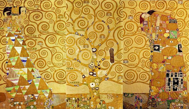 Панно для столовой дворца Стокле: Ожидание - Древо жизни - Свершение. Густав Климт Австрийский музей прикладного искусства, Вена (Österreichisches Museum für angewandte Kunst, MAK, Wien). 1905-11