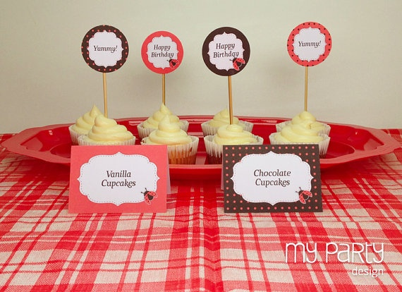 Ladybug Party  PRINTABLE & EDITABLE Food Labels by mypartydesign, $7.00