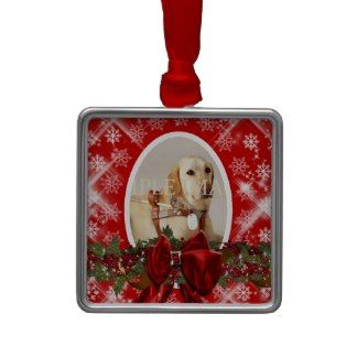 Pet memorial photo red PERSONALIZE Christmas Tree Ornament