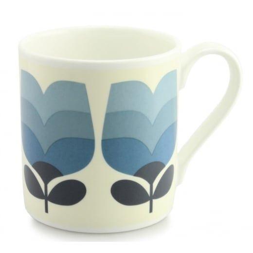 Orla Kiely House Tulip Tonal Striped Periwinkle Blue Quite Big Mug - Large