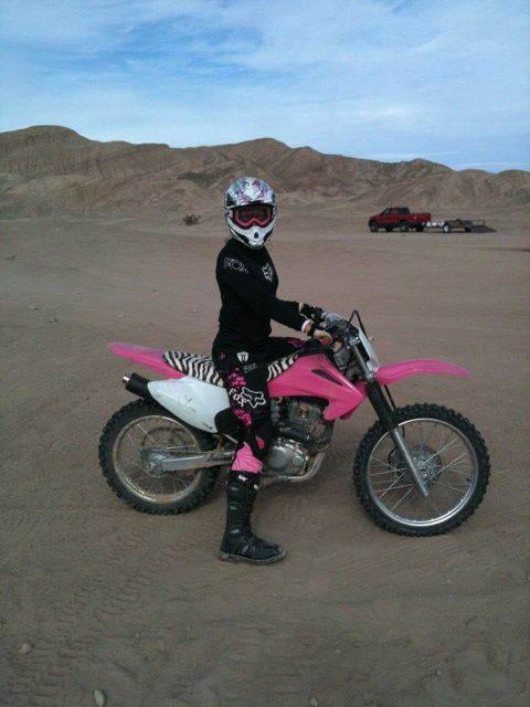 "I love my pink dirt bike!!!  My husband surprised me for Christmas with this ""one of kind"" motorcyle!!  Love the pink and the zebra seat!!!"