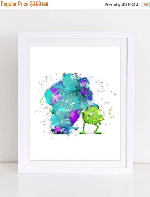 70%OFF Monster Inc Poster Disney Watercolor Poster Sally