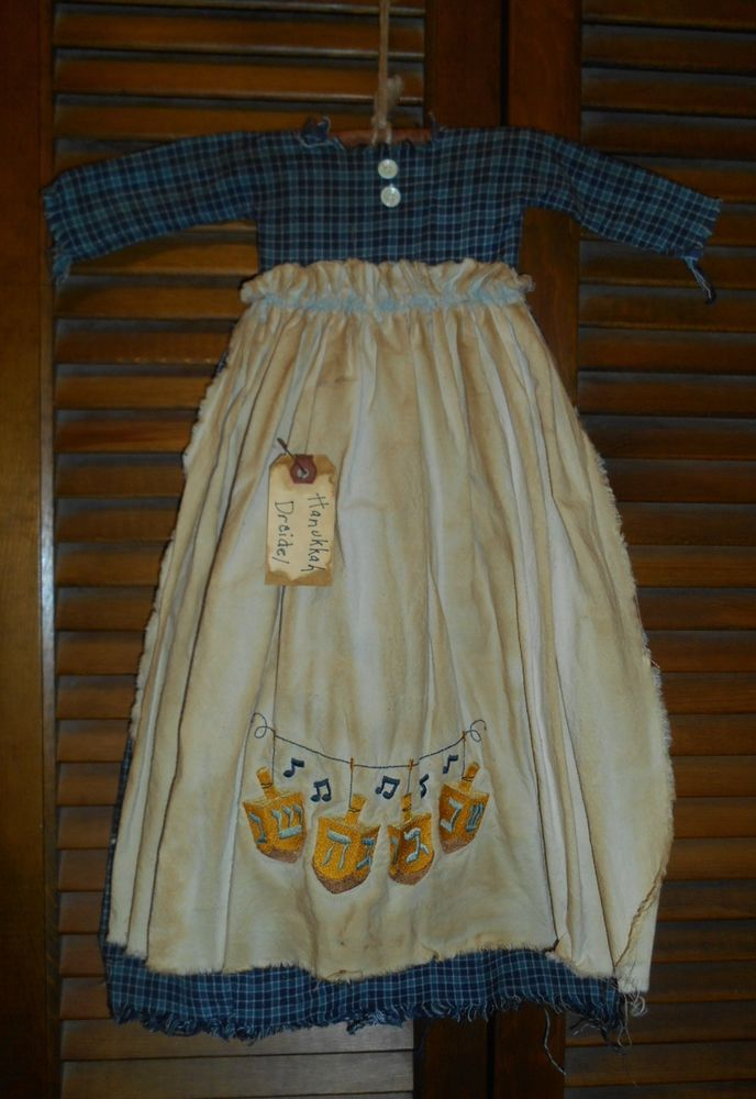 Primitive Wall Dress BLUE PLAID Hanukkah Dreidel, Jewish, Chanukkah, Prim,Grungy #NaivePrimitive
