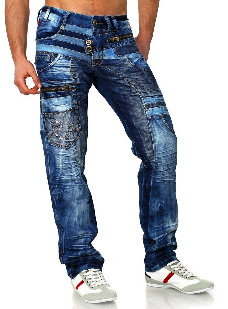 Jeans Denim Kosmo Lupo mężczyzn niebieski w stylu vintage