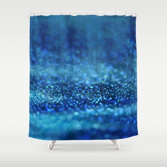 Aqua Glitter effect- Sparkling print in different blue Shower Curtain #Glitter #Glamour #Sparkle #glittering #utart