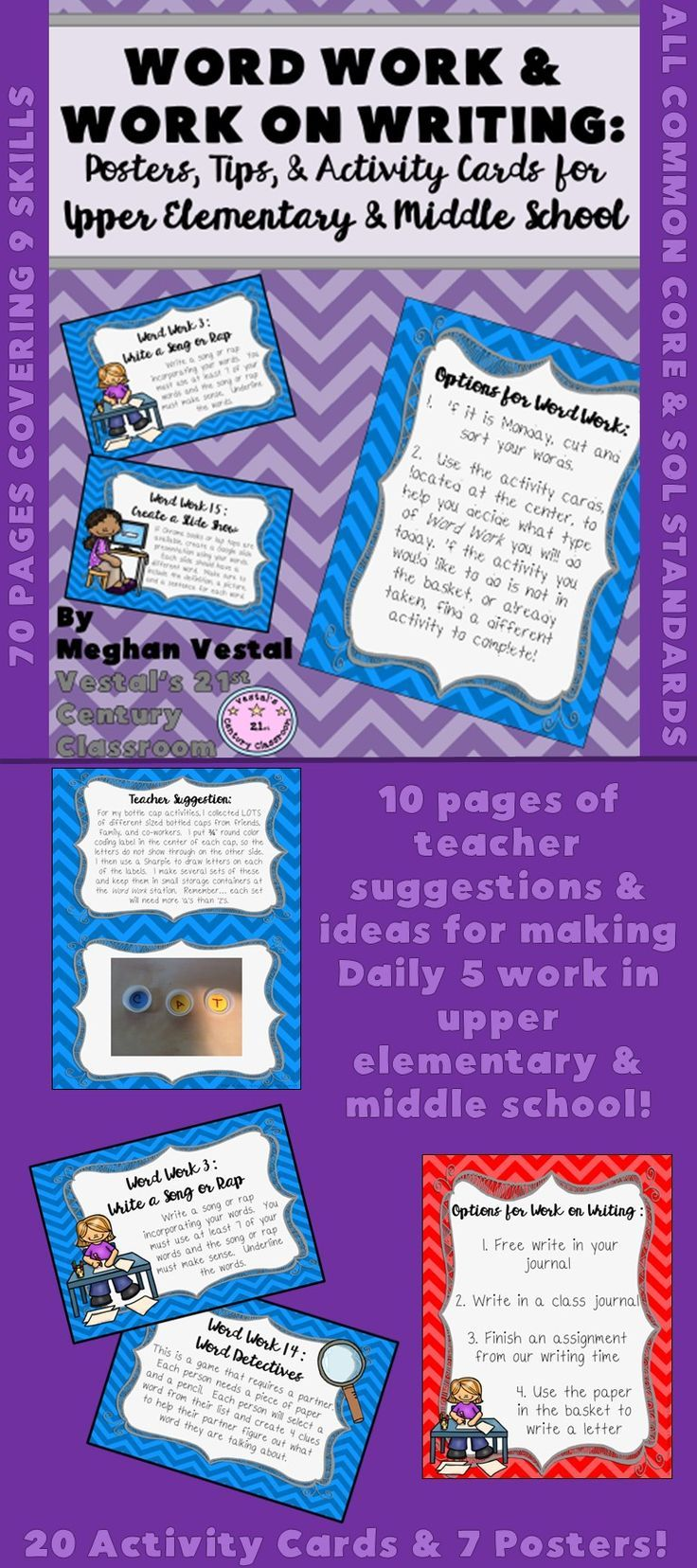 Word Work and Work on Writing activities for upper elementary and middle school can be difficult to come by as a lot of Daily 5 resources are created for primary grades. After several years of experience using Daily 5 (or Daily 3 as we refer to it in my classroom), I have put together all of my upper elementary and middle school strategies, activity ideas, posters, and resources to use with Word Work and Work on Writing stations!