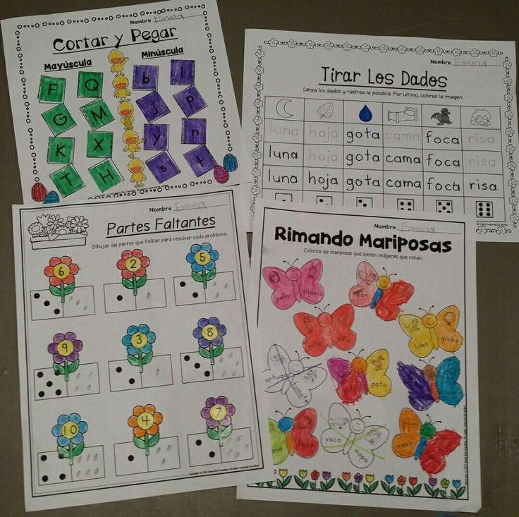 Paquete de matematicas y lectura para abril (Spanish April Math and Literacy Packet). Este paquete contiene 20 hojas de cálculo matemáticas y 20 hojas de trabajo de lectura. Las hojas de trabajo incluyen palabras de alta frecuencia, lectura de palabras sencillas,  localización de oraciones, lectura de frases sencillas, 10 cuadros,identificando los números 11-50, uno más y uno menos, adición, y formas 2D y 3D, y mas.