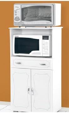 Balcão Classic Branco para forno elétrico e microondas - fornecedor Passe Bem Móveis. Medidas: Alt. 1,23 x Comp. 0,66 x Prof. 0,43 - Preço de venda: R$ 199,00
