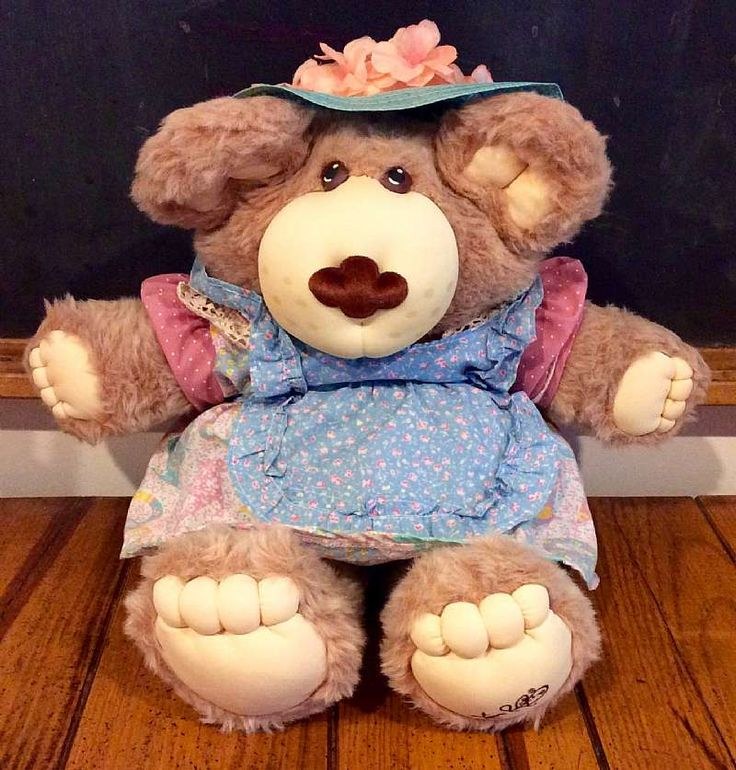 For sale at Retrophoria.com, $26.00 - This listing is for Hattie Furskin!  She is part of the Coleco Furskins family designed by Xavier Roberts.  These adorable Furskins Bears are cousins to the Cabbage Patch Kids.  Hattie is wearing her original outfit (including her floral hat, but no shoe