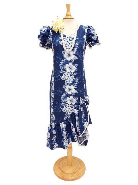 Two Palms Pacific Panel Navy Cotton Hawaiian Long Muumuu Dress
