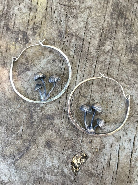 Mushroom hoop earrings by THEETHjewelry on Etsy