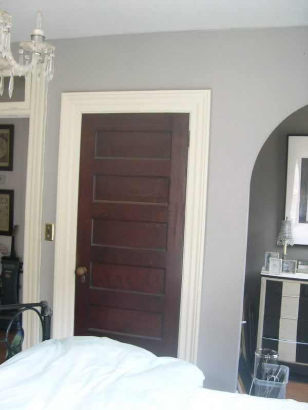 Love the white trim with dark stained doors i want to for Wood doors painted trim