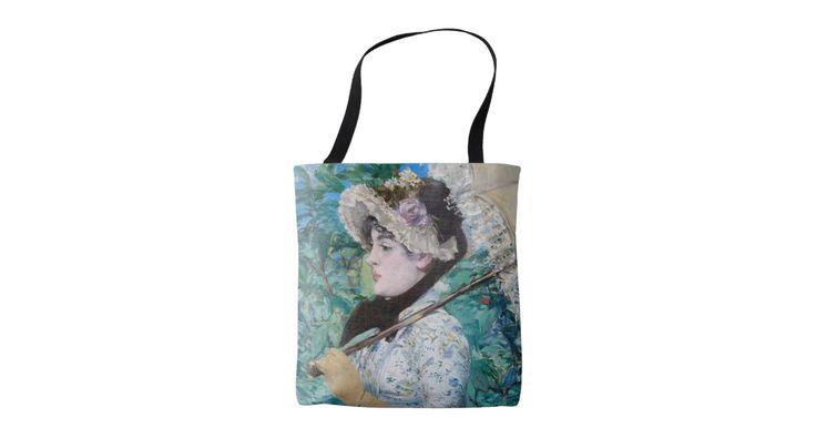 Édouard Manet (フランス語、1832年- 1883年) Le Printemps (Jeanne Demarsy)、1881年のキャンバスの油 74 x 51.5 cm (29 1/8 x 20 1/4 inに。) J.ポールGetty博物館、ロサンゼルス Gettyの開いた満足なプログラムのデジタル画像の礼儀。 花のアクセントの日の服のシックな若い女性は豊かな群葉の背景にパラソルを押しつけます。 彼女は彼女が視聴者の敬服の念に満ちた熟視を十分に把握しているようである一方で、平衡の写真および取り外しまっすぐ前に見ます。 熱望のパリの女優を春の具体化として表してJeanne Demarsy、このポートレートはManetの生命の最後の専攻のな公共展覧会、1882年のパリのサロンでデビューしました。 有名なアートワークを特色にするより多くのトートバックがあるように私の店を確認して下さい!