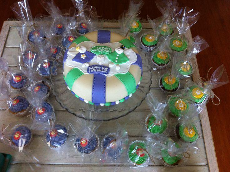 Torta Bautizo más Cupcake