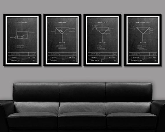Happy Hour in Classic Blue Print Format - 4 Posters - (Print 321) - Home Decor