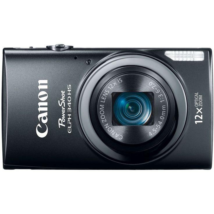 Canon PowerShot ELPH 340 HS 16MP Digital Camera (Black) Black Base