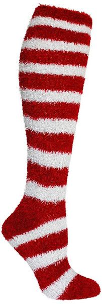 Bring on the Christmas parties! These fuzzy red and white striped knee high socks are sure to be a hit. Fits women's shoe size 5-10.