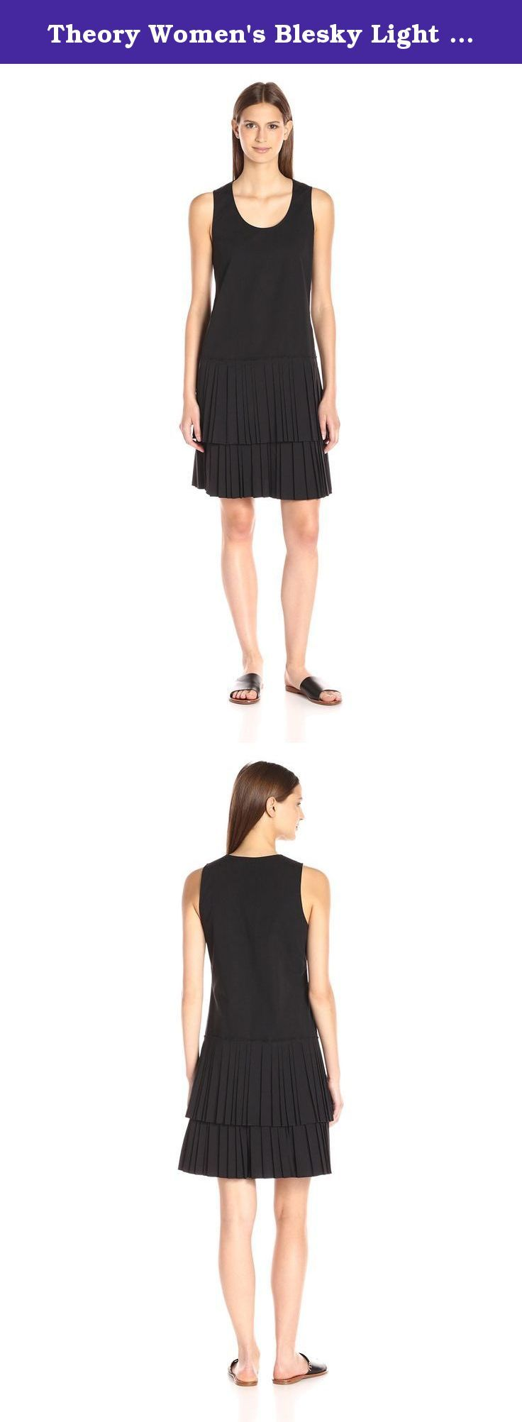Theory Women's Blesky Light Poplin Dress, Black, 4. Cotton poplin tank dress with a double layer of pleating detail at the bottom.