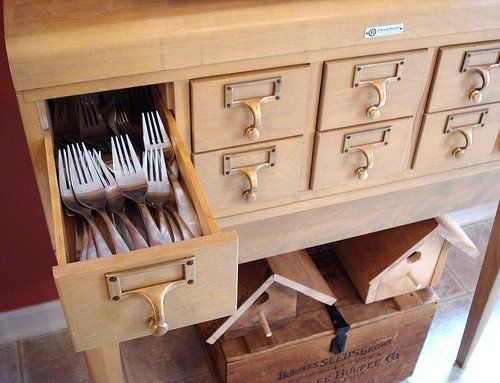 Look! A Card Catalog Used To Store Flatware & Utensils — Kitchen Inspiration