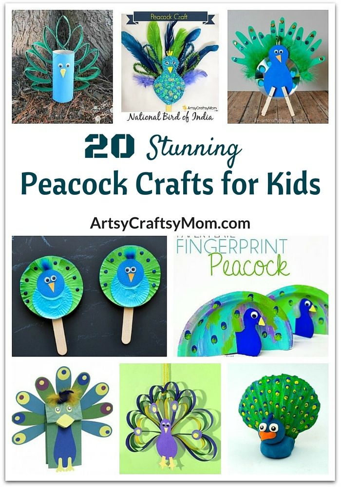 This Republic Day, celebrate the gorgeousness of India's national bird, the peacock, with these easy yet stunning peacock crafts for kids. via @artsycraftsymom