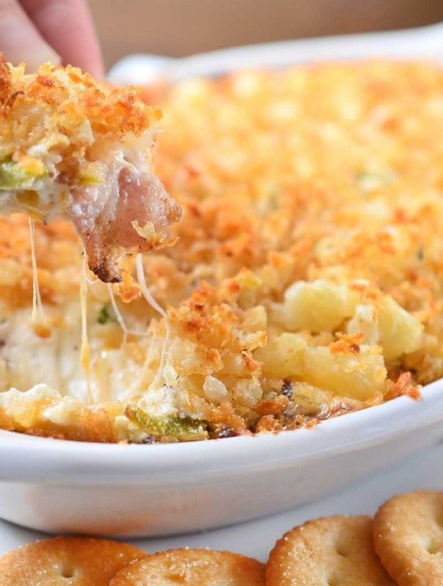 Cheesy Jalapeño Bacon Dip with Tater Tot Crust