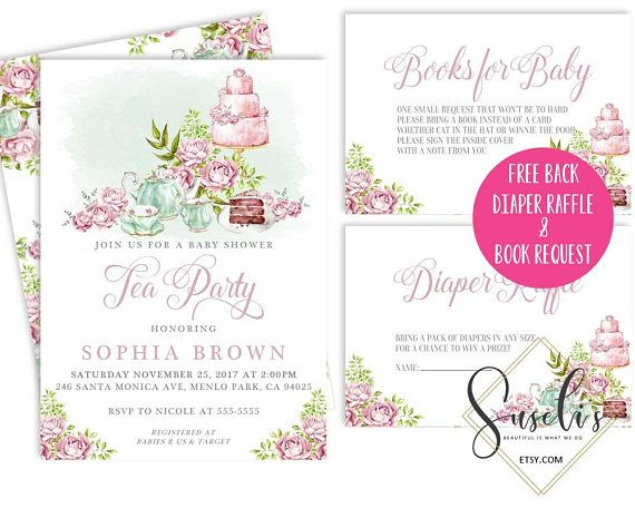Baby shower or sprinkle Tea Party Invitation set Watercolor
