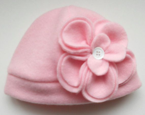 Getting ready for the chilly weather!  Baby Girl Boutique Pink Fleece Hat with Flower