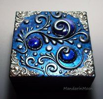 Custom Wood box with Polymer Clay Top by MandarinMoon