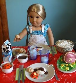 Great album of polymer clay American Girl food, click on the upper right yellow box in  the photos for some simple instructions.