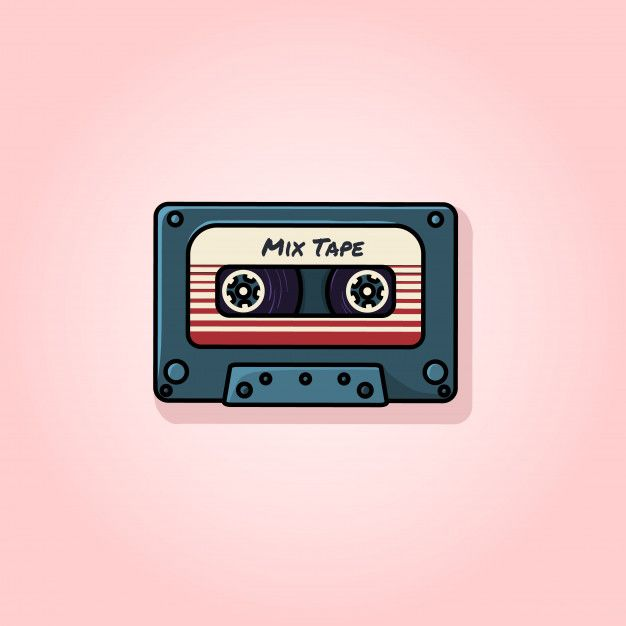 Retro Mix Tape Flat Vector Illustration In 2020 Retro Painting Vector Illustration Mixtape