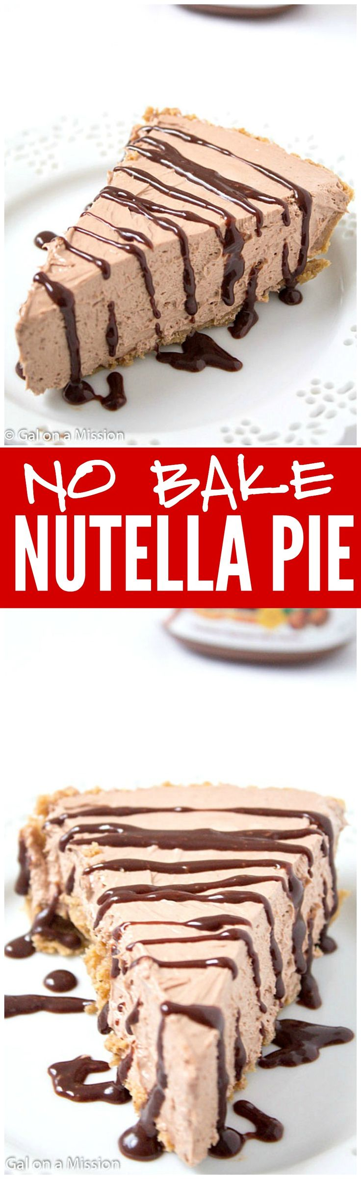 Everything about this Nutella Pie is No BAKE!! So rich, creamy and decadent and sure to be a hit!