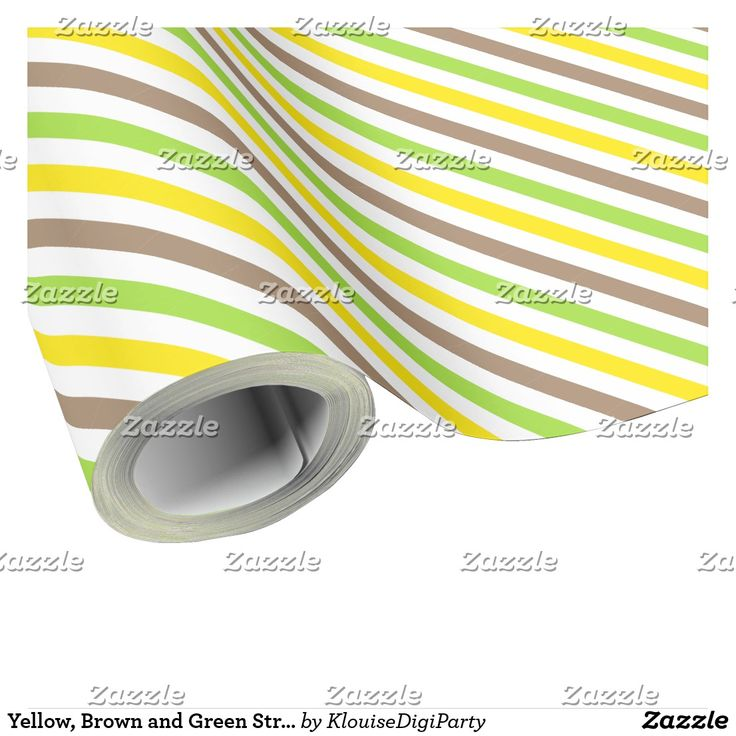 Yellow, Brown and Green Stripes Wrapping Paper