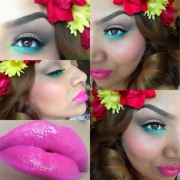 """❃ ✴ Festival Makeup 文❃ (Coachella inspired)  Eyes: Coastal scents for the lid in the 42 matte stack palette Lower water line I used @anastasiabeverlyhills Hypercolor's in """"Teal Tornado"""" and """"electric blue""""  Lashes: @Allison House of Lashes """"Femme Fatale""""  Lips: Embrace Me with @Lee Ann Dockery-Robinson Vixen lipgloss in """"vivid energy""""  @KD Eustaquio Jones"""