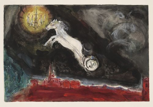 Marc Chagall, A Fantasy of St. Petersburg. Study for backdrop for Scene IV of the ballet Aleko, 1942, Watercolor, gouache, and pencil on paper. Museum of Modern Art, New York #dance