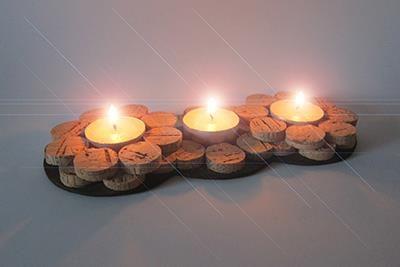 Porta velas de rolhas