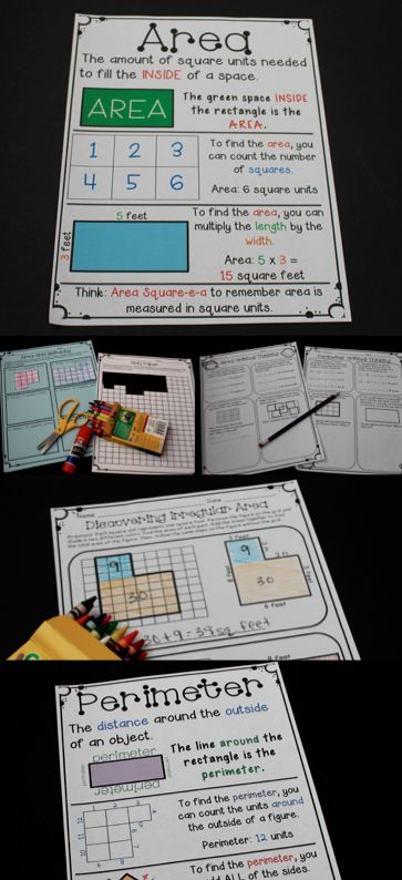 Area and Perimeter Activities and Lesson Ideas! Love the math games included here and the printable area and perimeter anchor charts!