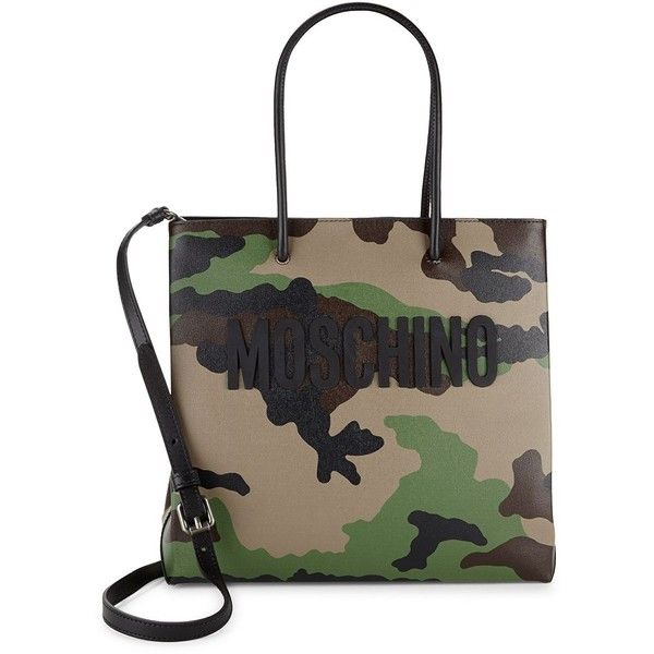Moschino Camouflage Leather Tote ($750) ❤ liked on Polyvore featuring bags, handbags, tote bags, camo tote, leather tote bags, green leather tote bag, handbags totes and man tote bag