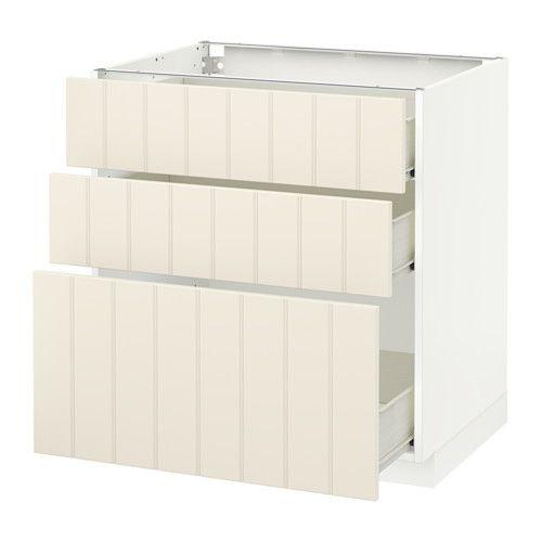 METOD / FÖRVARA Onderkast met 3 lades - 80x60 cm, Hittarp ecru, wit - IKEA