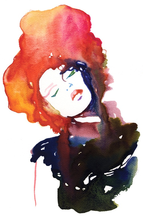 "Cate Parr; Watercolor, 2010, Painting ""Modelink 2"""